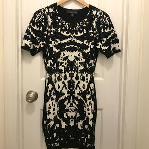 Fitted black and white mini dress